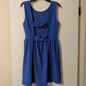 Blue Fit & Flare Dress with open bow back